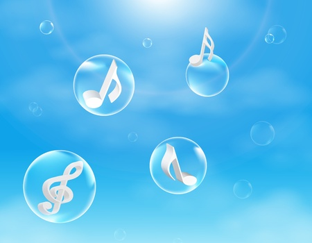 listening to music: Musical Bubbles ilustraci�n vectorial