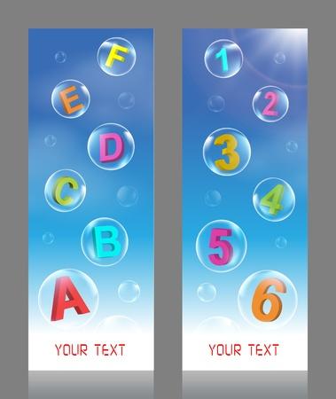 Alfabet en nummer Bubbles vector illustratie