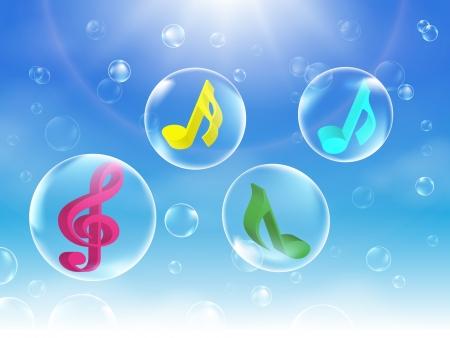 Illustration colorée Musical Bubbles Vecteurs
