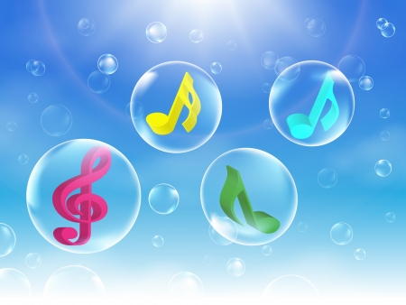 Kleurrijke muzikale Bubbles illustratie