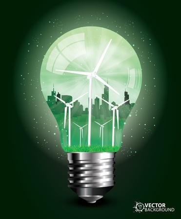 green light bulb: Stylish Green light bulb design vector illustration   Stock Photo