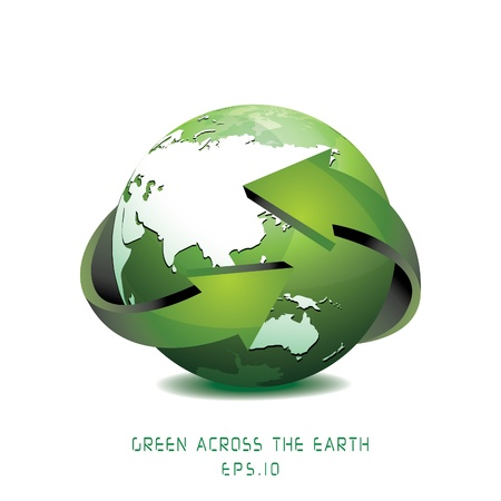 Green Globe with Arrows illustration Stock Vector - 18091177