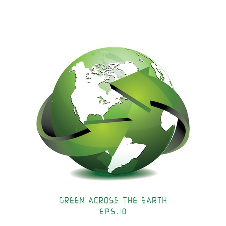 Green Globe with Arrows illustration