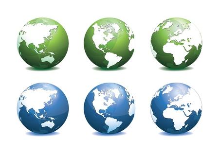 Grün und Blau Globus mit verschiedenen Ansichtsdarstellung Standard-Bild - 18091179