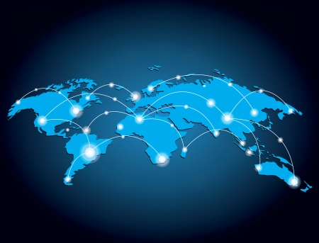 Global network design illustration Illustration