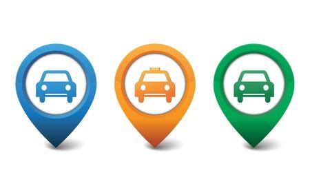 voiture parking: Voitures et taxis ic�ne illustration