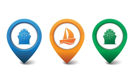 Ship and sailboat icons illustration Vector