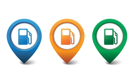 petroleum blue: Gas pump icon illustration Illustration