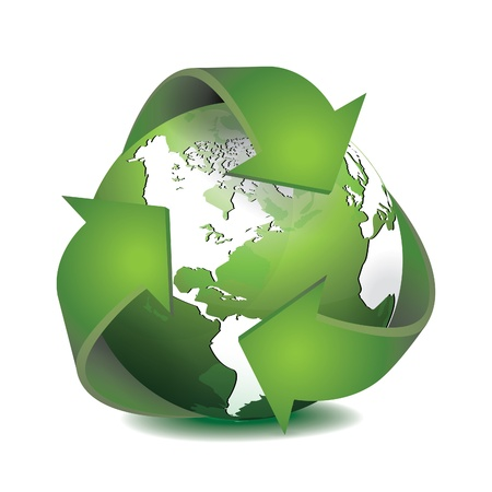 commercial recycling: Green Earth with Recycled Symbol vector illustration