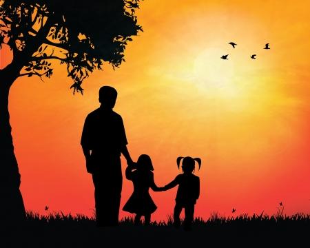excitement: Отец и девчонки, наблюдая закат векторные иллюстрации