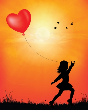 children silhouettes: Girl skipping with balloon in sunset background vector illustration   Illustration