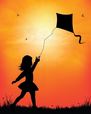凧: 夕日を背景に凧の飛行少女  イラスト・ベクター素材