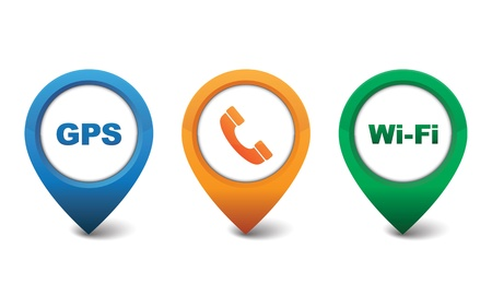 Phone, GPS, Wifi icon vector illustration