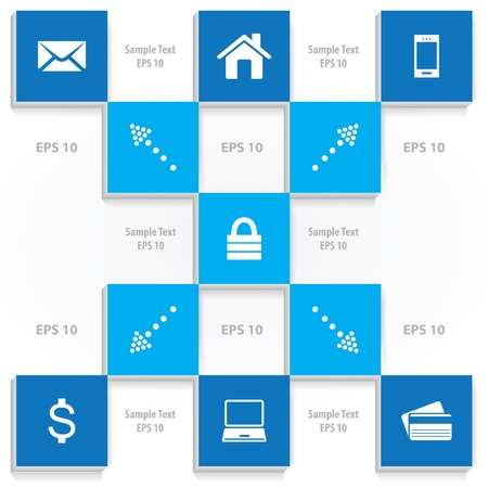 secured payment: Abstract Square background with icons vector illustration
