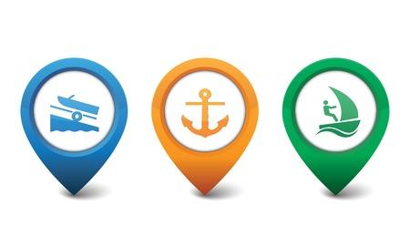 Marina, Sailboat, Boat Ramp icons  Vector