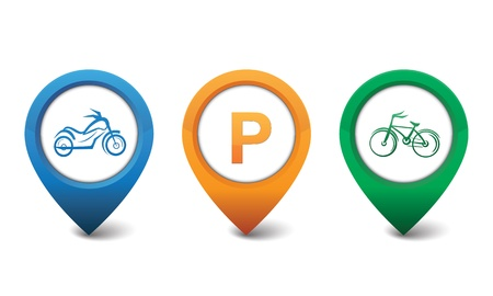 Motorcycle, Bicycle, Parking icons Illustration
