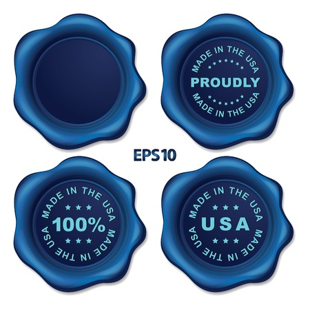 Stylish blue wax seal Vector