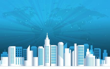 real world: City landscape vector illustration  Illustration