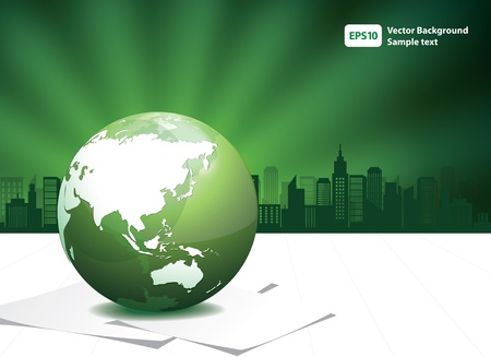 Green Globe with building illustration  Vector