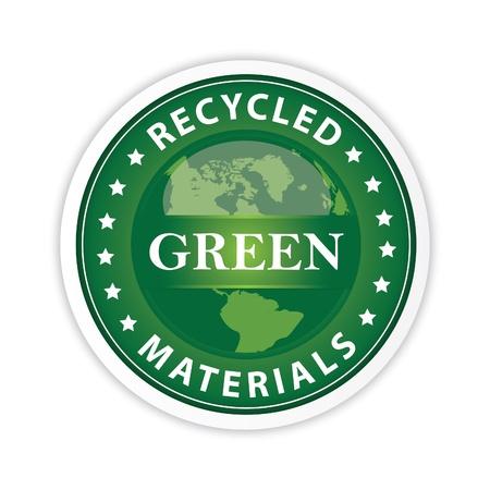 residuos organicos: Etiqueta verde con una ilustración del globo