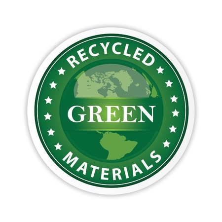 organic waste: Green Label with a globe illustration