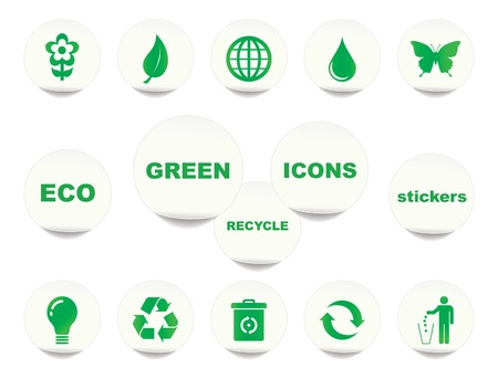 Green stickers  illustration Stock Vector - 20412301