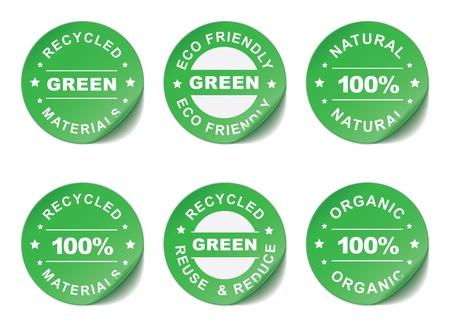 residuos organicos: Verde pegatinas ilustración Vectores