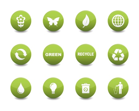 business environment: Green icons Illustration