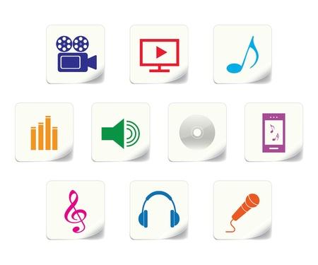 multimedia: Multimedia icon stickers