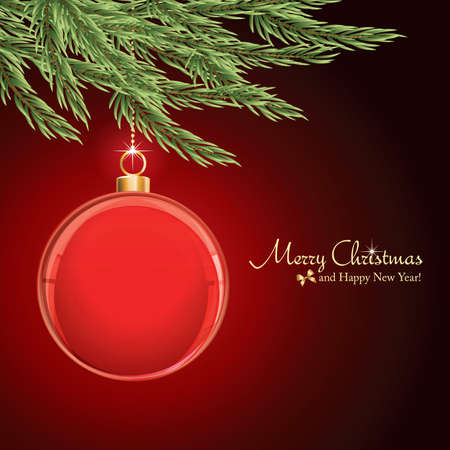 with space for text: Christmas Glass Ornament background with a space for text or image vector illustration  Illustration