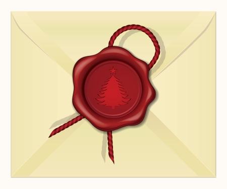 official symbol: Christmas Tree wax seal vector illustration