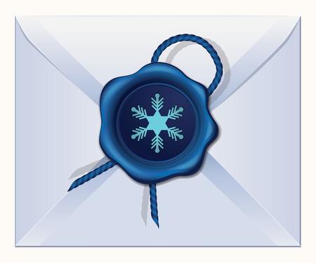 Christmas Snow wax seal vector illustration