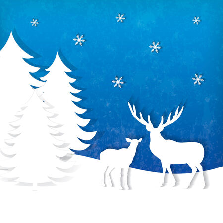 Stylish holiday reindeer design with a space for text Çizim