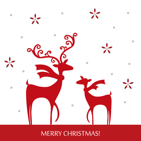 Stylish Christmas reindeer design with handcraft theme vector illustration Vector