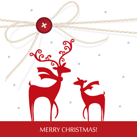 Stylish Christmas reindeer design with handcraft theme vector illustration