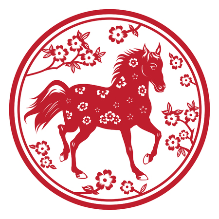 Chinese New Year - Year of Horse -  paper cut background  Ilustração