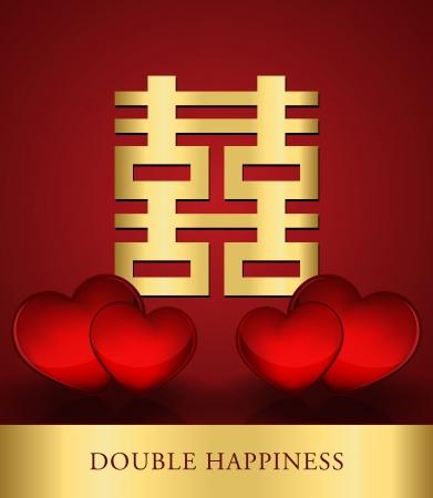 Chino Felicidad Shuang Xi Doble con corazones rojos de fondo Ilustración de vector