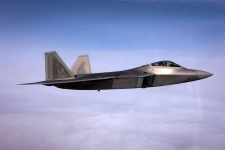 US Air Force F-22A Raptor in flight. The F-22 is a 5th Generation stealth fighter made by Lockheed Martin.