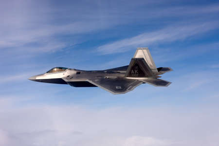lockheed martin: US Air Force F-22A Raptor in flight. The F-22 is a 5th Generation stealth fighter made by Lockheed Martin.