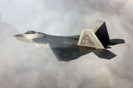 supremacy: US Air Force F-22A Raptor in flight. The F-22 is a 5th Generation stealth fighter made by Lockheed Martin.