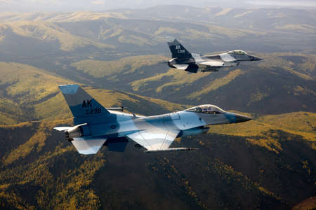 US Air Force F-16 Vipers fly over Alaksa.