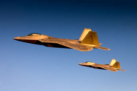 F-22 Raptor flies in formation with other aircraft - F-15, F-16 and A-10.