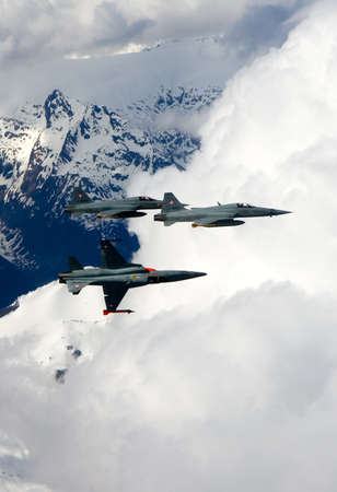 supremacy: Swiss Air Force F-5E Tiger IIs in formation over the Alps.