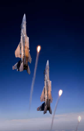 US Air Force F-15 Eagles fly over St. Louis, Missouri, USA.