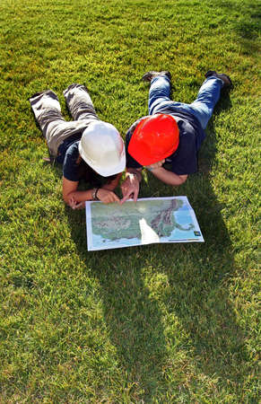 workmanship: engineers reading a map 2 Stock Photo