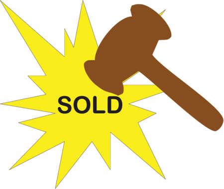 adjudicate: hammer and sold Illustration