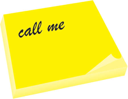 call me: yeloow note with call me