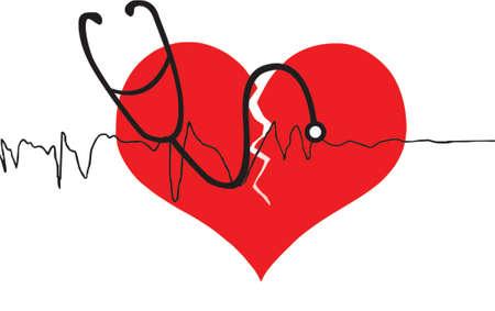 broken heart with stethoscope Stock Vector - 525021