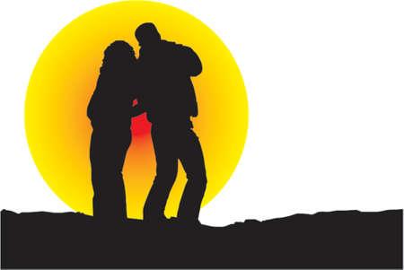 sunset silhouette Vector