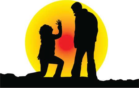 conversing: sunset silhouette